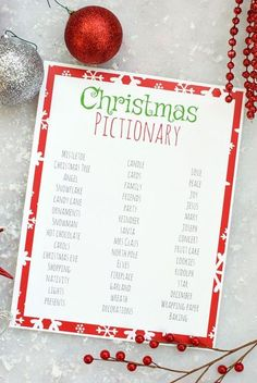 Christmas Pictionary Game If you're looking for easy holiday party games to keep the kids entertained, print these games! Christmas Bingo, I Spy, Don't Eat Pete, & Christmas Memory. Fun Christmas Party Ideas, Christmas Games For Family, Xmas Games, Christmas Bingo, Holiday Party Games, Christmas Tree Cards, Kids Party Games, Christmas Humor, Christmas Holidays