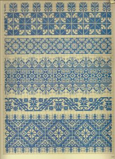 Folk cross stitch pattern - useful for fair isle