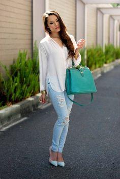 Chemise blanche et jeans : fraîcheur !