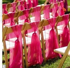 ALWAYS dress your chairs.... especially if it is an outdoor wedding, and if your venues chairs look like they were purchased in 1972... nothing ruins a gorgeous tablescape like 8 plain, Motel 6 looking chairs in a ballroom, or undressed fold-up chairs outside
