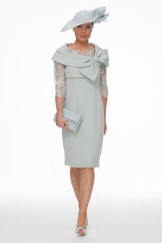 Duck Egg Lace Dress Bow Jacket | Joyce Young