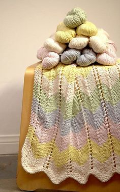Originally published by Knit Culture Studio, this colorful baby blanket comes in 2 sizes for a stroller blanket or crib blanket size.