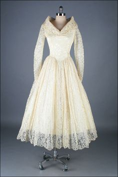 Vintage 1950s Dress . Ivory Lace . Sequins . by millstreetvintage