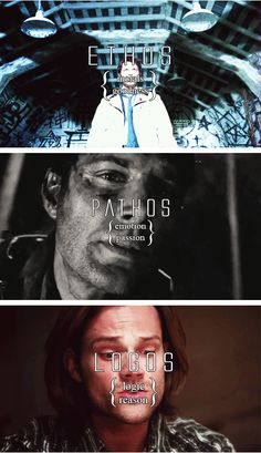 Ethos (Castiel), Pathos (Dean), and Logos (Sam) gif. Supernatural summed up in a round about way.