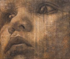Jorge Rodriguez-Gerada, charcoal on 200 year-old wall surface transferred on to wood panel