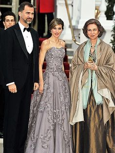 PRINCE FELIPE, PRINCESS LETIZIA & QUEEN SOFIA...The evening proved a family affair for Spain's monarchy, with the Prince and Princess of Asturias attending Queen Elizabeth's private dinner alongside Felipe's mother, Queen Sofia. Thursday April 28, 2011