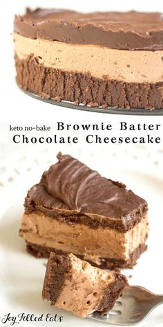 Keto Low Carb Gluten Free Sugar Free THM S Chocolate Cheesecake! With layers of a brownie batter flavored base, luscious chocolate cheesecake, and a topping of chocolate ganache this No-Bake Chocolate…More 12 Easy Low Carb Cheesecake Recipes Keto Desserts, Sugar Free Desserts, Healthy Dessert Recipes, Keto Recipes, Cheap Recipes, Keto Desert Recipes, Cookie Recipes, Recipes Dinner, Diabetic Recipes