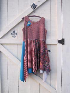 Boho dress Bold floral sun tunic patchwork dress by ShabyVintage