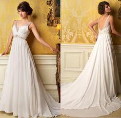 2014 V-Neck Chiffon Beach Wedding Bridal Gowns dresses White/Ivory Custom made