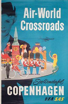 SAS Airline Poster for Wonderful Copenhagen, Denmark - Artist: unknown. via poster team Vintage Travel Posters, Vintage Ads, Vintage Airline, Poster Vintage, Retro Posters, Illustrations Vintage, Advertising Poster, Advertising Campaign, Graphic Illustration