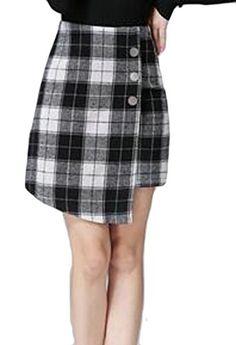 420bf589e4 Fulok Womens Casual High Waist Plaid Irregular Bodycon Work Mini Skirts  Black Medium *** Amazon most trusted e-retailer #SummerOutfit