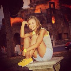 When in Rome, rock yellow Timberland boat shoes! (Instagram photo credit: @anastasiadanko)