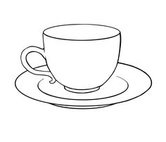 Tea Cup And Saucer Drawing Sketch Coloring Page