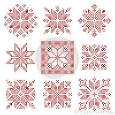 Nine Cross Stitch Snowflakes Pattern, Scandinavian Style Stock Vector - Illustration of folk, christmas: 73332550 Embroidery Hoop Nursery, Folk Embroidery, Cross Stitch Embroidery, Embroidery Patterns, Counted Cross Stitch Patterns, Cross Stitch Designs, Crochet Headband Pattern, Snowflake Pattern, Scandinavian Style