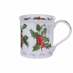 Winter Flowers Holly This range of mugs is dedicated to the flowers blooming in the winter time. Beautifully illustrated, this mug features the most recognisable of the winter flowers - holly.Bute These clas Christmas China, Christmas Mugs, Winter Flowers, China Mugs, Black Coffee, Winter Time, Winter Wonderland, Tea Cups, Coffee Mugs