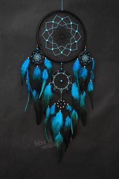 Dream catcher Large Dreamcatcher Boho style Amulet Black Turquoise Light blue red purple green color Home Decor Native American Ethnic style - Dimensions: ring diameter: 19 cm, 8 cm, 5 cm, 4 cm (inches: The length of (i - Grand Dream Catcher, Beautiful Dream Catchers, Dream Catcher Art, Large Dream Catcher, Black Dream Catcher, Making Dream Catchers, Dream Catcher Patterns, Dream Catcher Mobile, Dreamcatchers