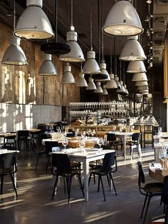 Restaurant and bar interior design Decoration Restaurant, Deco Restaurant, Restaurant Interior Design, Industrial Restaurant Design, Luxury Restaurant, Restaurant Lighting, Design Hotel, Industrial Interior Design, Industrial Interiors