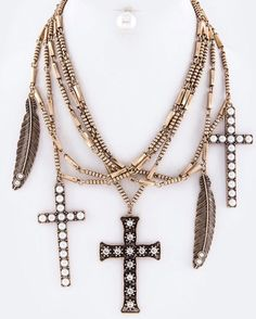 NEW ARRIVALS  Cross & Feather Necklace