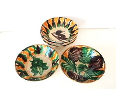 Vintage Rustic Mexican Pottery Bowls x 6