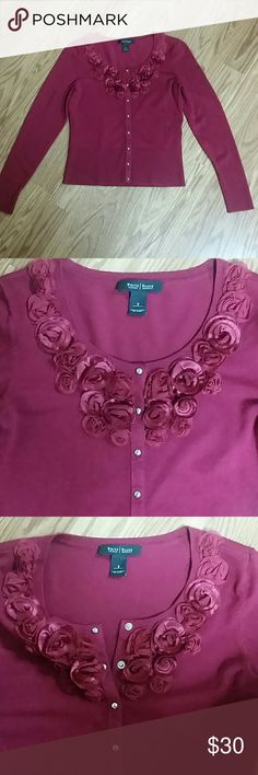 WHBM sweater Beautiful maroon sweater cartigan by White House / Black Market.  Silver snaps down front. Cloth flowers around neckline. Size small White House Black Market Sweaters Cardigans