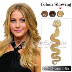 20 Inch 100s 1g/s Micro Loop Ring Human Hair Extensions Wavy (#613 Lightest Blonde)