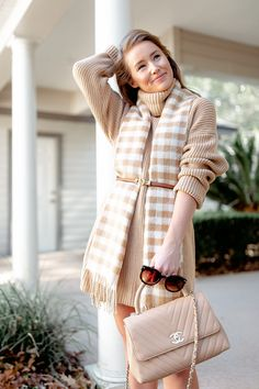 the perfect sweater dress & 3 ways to wear it | a lonestar state of southern Grey Sweater Dress, Scarf Dress, Gray Dress, Houndstooth Coat, Checked Scarf, Cashmere Scarf, Price Point, Nice Dresses, Fashion Dresses