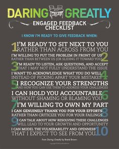"As a recovering harsh critic (of myself and others), I find this really helpful:  ""I know I am ready to give feedback when""... Daring Greatly Engagement Checklist - Brené Brown"