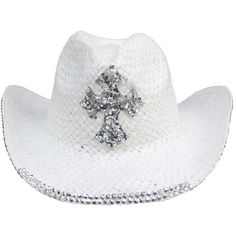 White Straw Cowboy Hat With Rhinestone Cross ( 30) ❤ liked on Polyvore  featuring accessories c64691b4d565