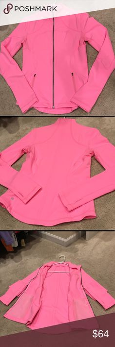 Lululemon Pink jacket Lululemon zipper front pink jacket Size 8. Worn 3 times. Excellent condition, although size tag in neck has been removed. No flaws or stains. lululemon athletica Other