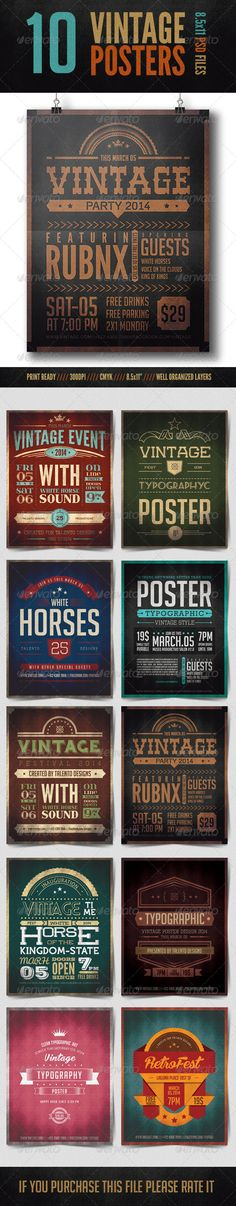 Vintage Typographic Posters — Photoshop PSD #modern #badges • Available here → https://graphicriver.net/item/vintage-typographic-posters/8371278?ref=pxcr