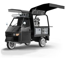 Food Inspiration Piaggio Ape 50 Mobile coffee cart new business? Mobile Coffee Cart, Mobile Coffee Shop, Mobile Cafe, Mobile Shop, Coffee Carts, Coffee Truck, Mini Camper, Food Cart Design, Piaggio Ape