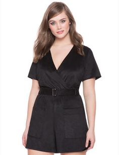 25a8e5b2419 Plus Size Studio Faux Suede Romper     Continue to the product at the image  link.