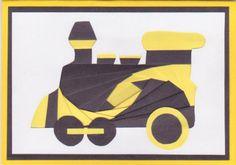 handmade card ... steam train engine ... black and yellow ... iris foling technique ... luv it!!