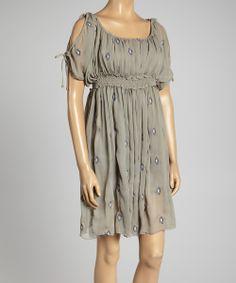 Gray Embroidered Cutout Empire-Waist Dress