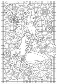 Girl with a mandala elements coloring page