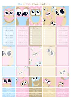 Printable owl pink blue brown beige stickers by Lateliercreatif06