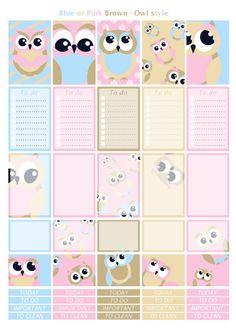 Printable owl pink blue brown beige stickers by Lateliercreatif06