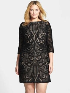 Julia Jordan Plus Size Lace Illusion Dress