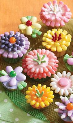Cupcake fleurs (fait avec des Jelly beans) / Flowers cupcakes (made with Jelly beans)
