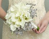 Wedding Flowers - Calla Lily Bridal Bouquet of White Lilies and Mirrored Beads - Fabulous Brooch Bouquet Alternative with Grooms Boutonniere