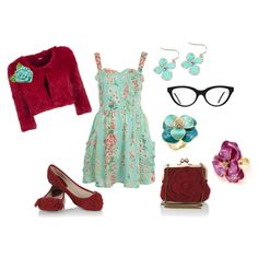 love this blue floral dress w/ floral jewelry and red accessories