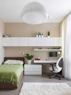Captivating Small bedroom office decorating ideas,Guest bedroom remodel basements and Master bedroom remodel ikea hacks. Small Apartment Bedrooms, Small Room Bedroom, Small Rooms, Modern Bedroom, Bedroom Decor, Girls Bedroom, Cozy Bedroom, Bed Room, Bedroom Furniture