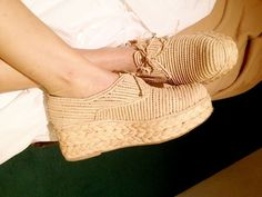 Carven natural woven and raffia platform shoes