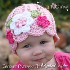 Patrón de la niña de la gorrita tejida del bebé del ganchillo Beanie para - Jardín de hadas Sombrero digitales