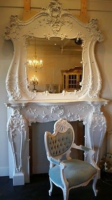 Best-Antique-Romantic-Home-Barbola-Roses-Beaded-Shabby-Mirrored-French-Mantle