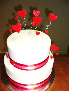 Valentine's Day Cake with Hearts