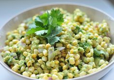 fresh corn and avocado salad ~.* and cilantro...oh yeah!