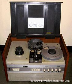 Museum of vintage reel to reel video recorders. Open reel black and white antique video recorders.
