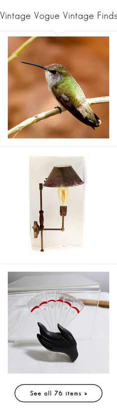 """""""Vintage Vogue Vintage Finds"""" by anna-ragland ❤ liked on Polyvore featuring home, lighting, wall lights, copper sconce, filament lamp, stick lamp, light bulb shade, copper lamp, jewelry and brooches"""