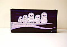 Eule Gemälde Woodland Art kleine Leinwand Kunstwerke von WinterOwls
